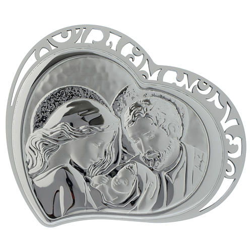Holy Family silver plaque on white wood heart shaped 1