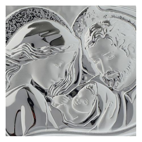 Holy Family silver plaque on white wood heart shaped 2