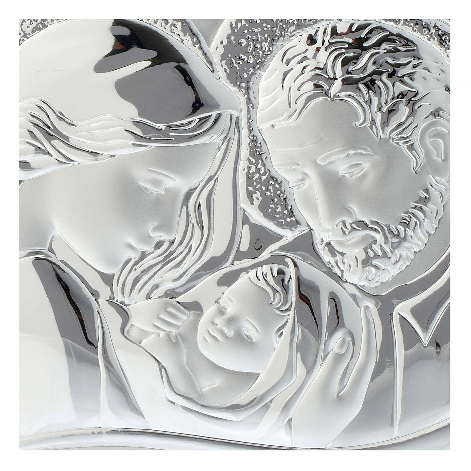 Cadre coeur Ste Famille bois blanc ajouré plaque argentée 3