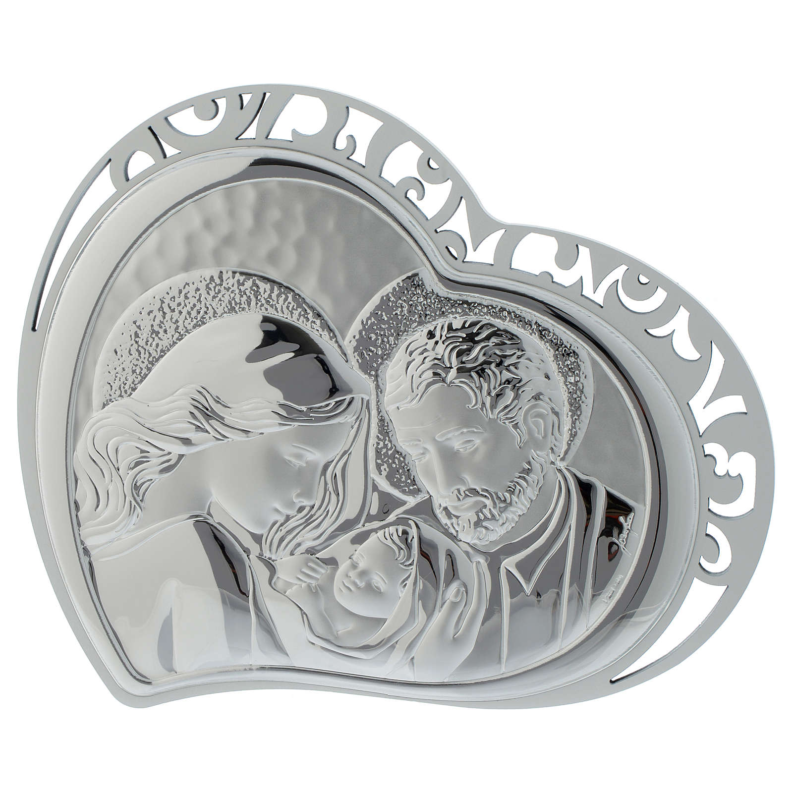 Holy Family silver print on white wood heart shaped 3
