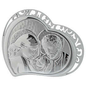Holy Family silver print on white wood heart shaped s1