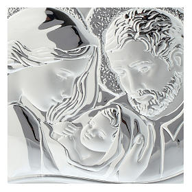 Holy Family silver print on white wood heart shaped s2
