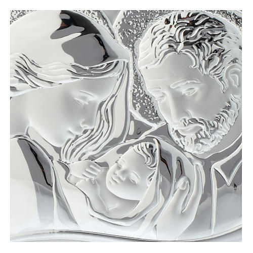 Holy Family silver print on white wood heart shaped 2