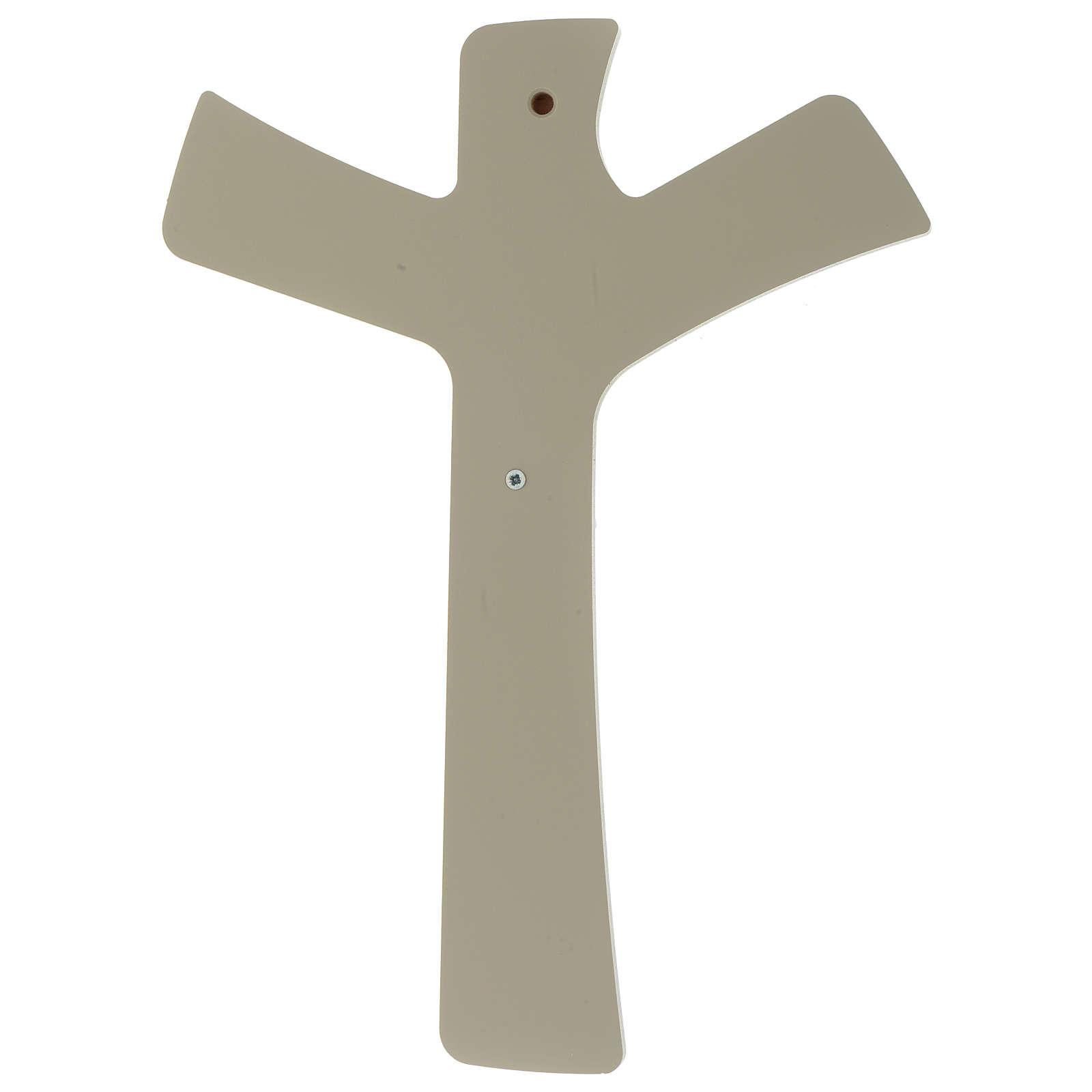 Crocefisso stilizzato Bianco tortora legno e resina 20X25 cm 3