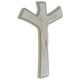 Crocefisso stilizzato Bianco tortora legno e resina 20X25 cm s3