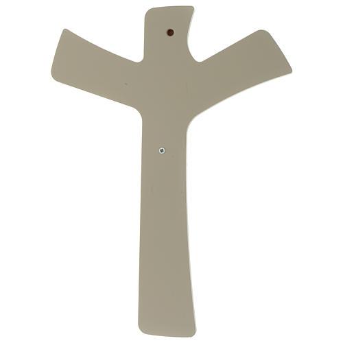 Crocefisso stilizzato Bianco tortora legno e resina 20X25 cm 4