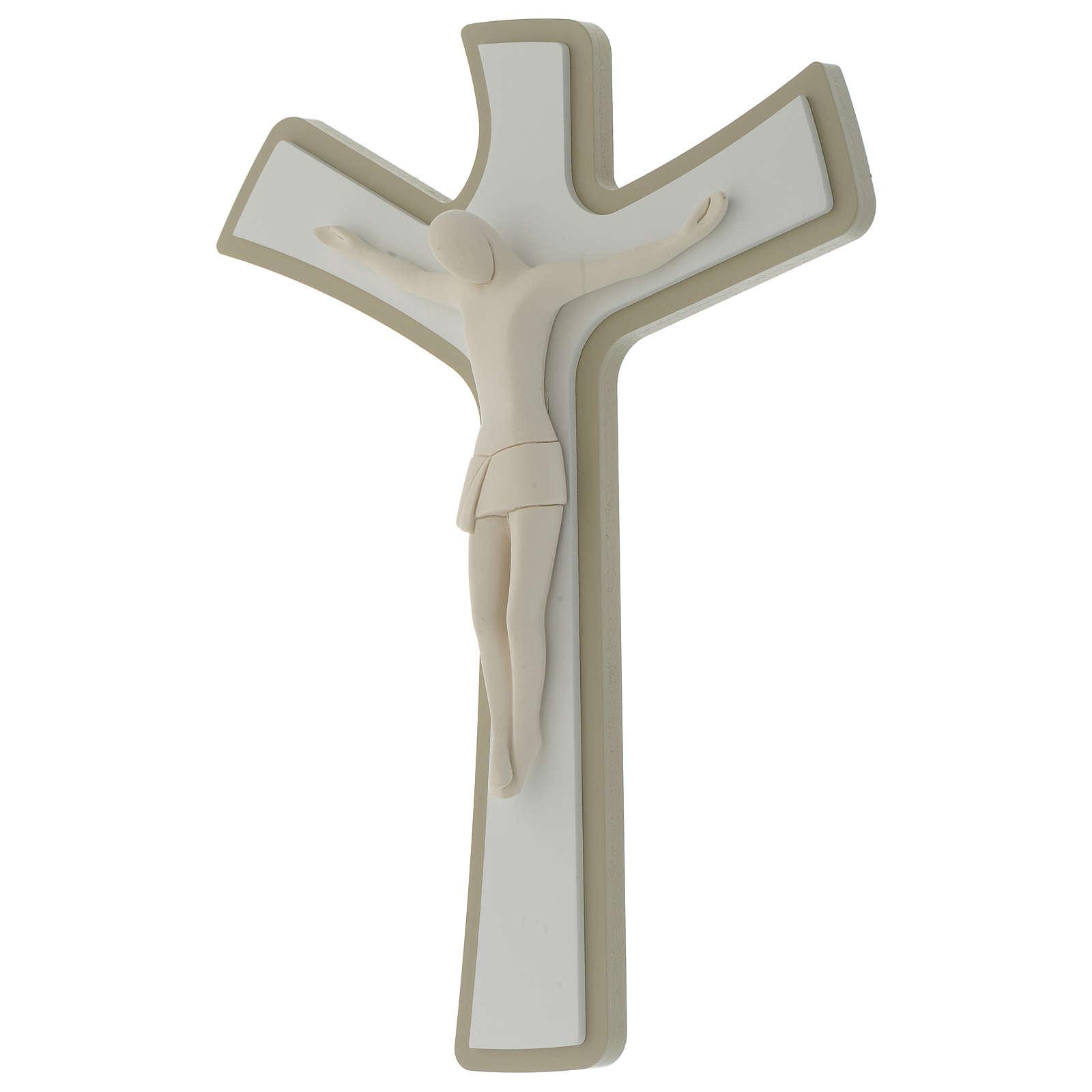 Crocefisso bianco e tortora corpo in resina stilizzato croce in legno 3