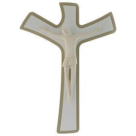 Crocefisso bianco e tortora corpo in resina stilizzato croce in legno s1