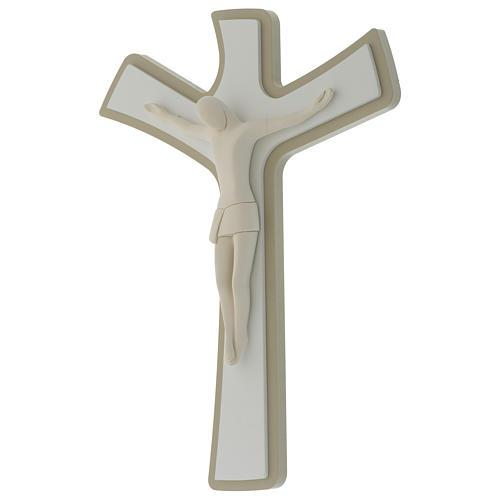 Crocefisso bianco e tortora corpo in resina stilizzato croce in legno 2