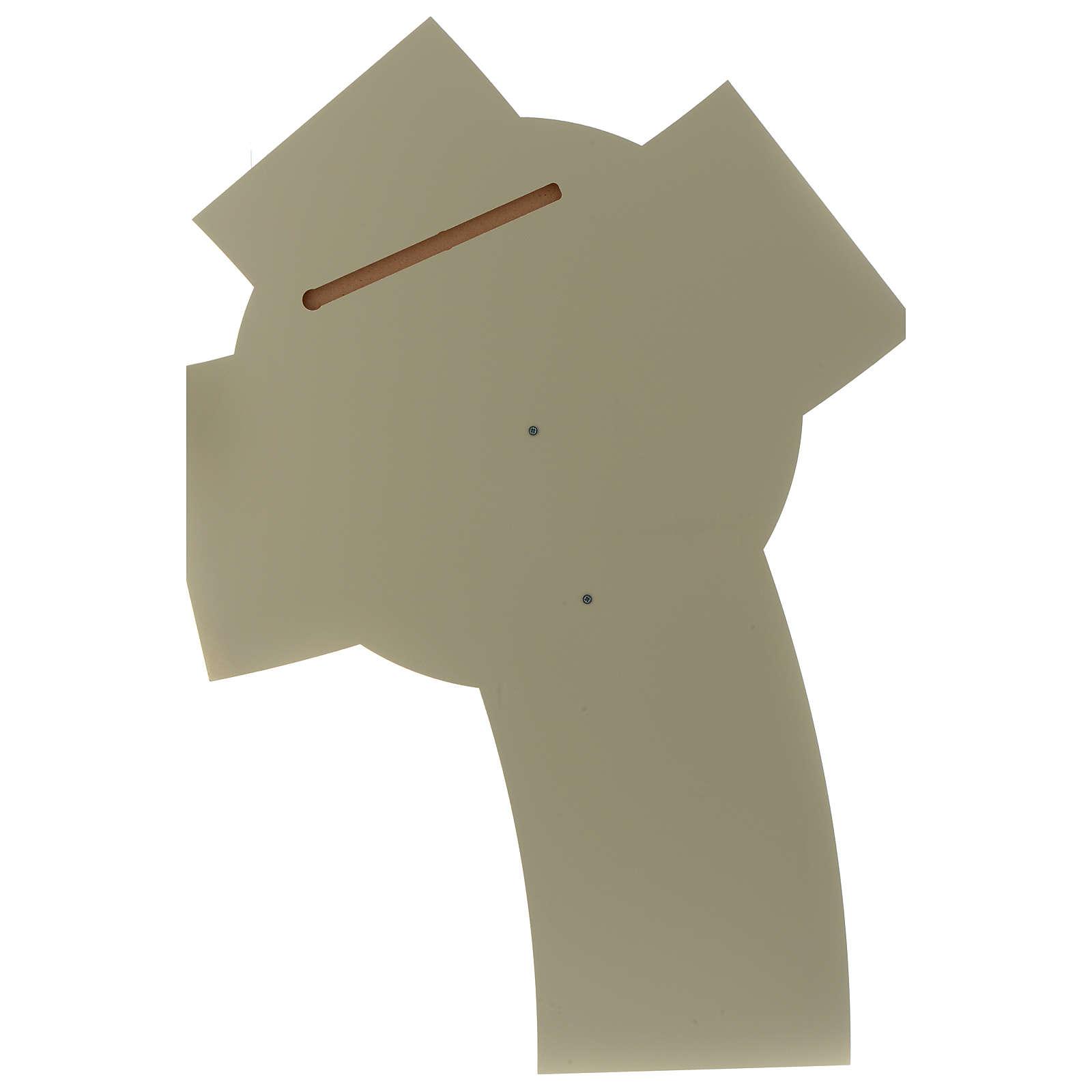 Crocefisso resina e legno intagliato bianco e tortora 3