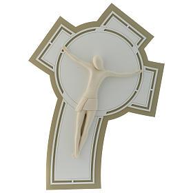Crucifijo estilizado resina y base madera tallada s1