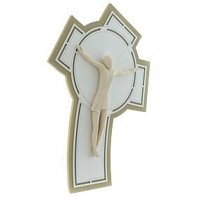 Crocefisso stilizzato resina e base legno intagliato s4
