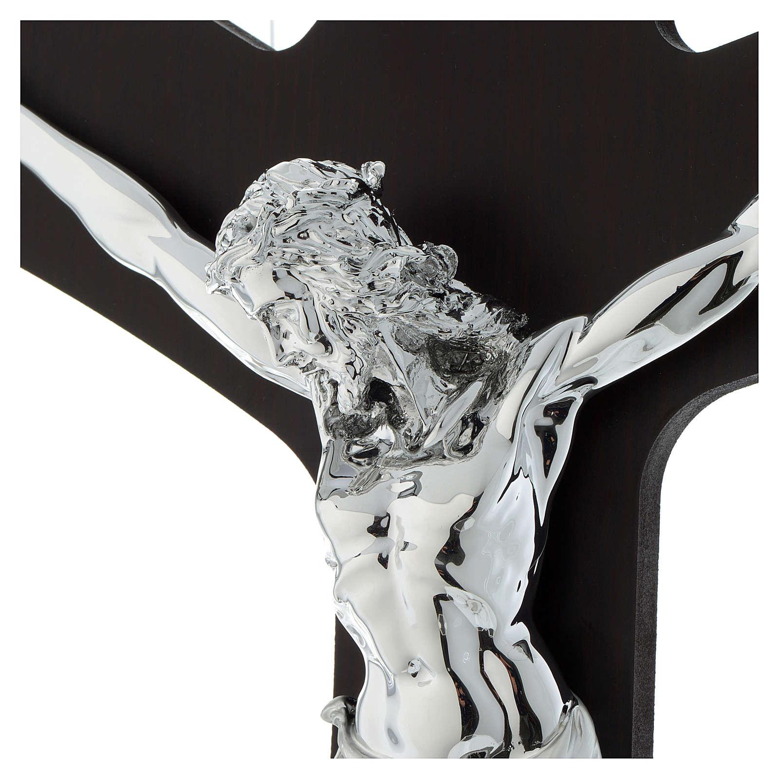 Croce legno wengé e corpo lastra argentata 3