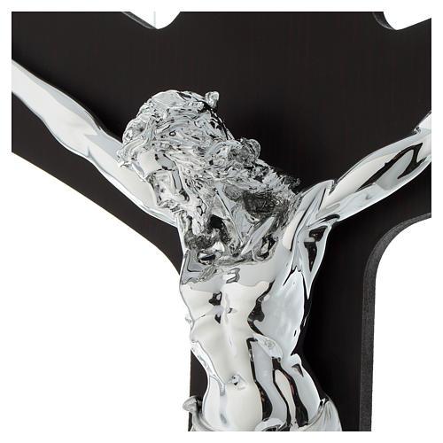 Croce legno wengé e corpo lastra argentata 2