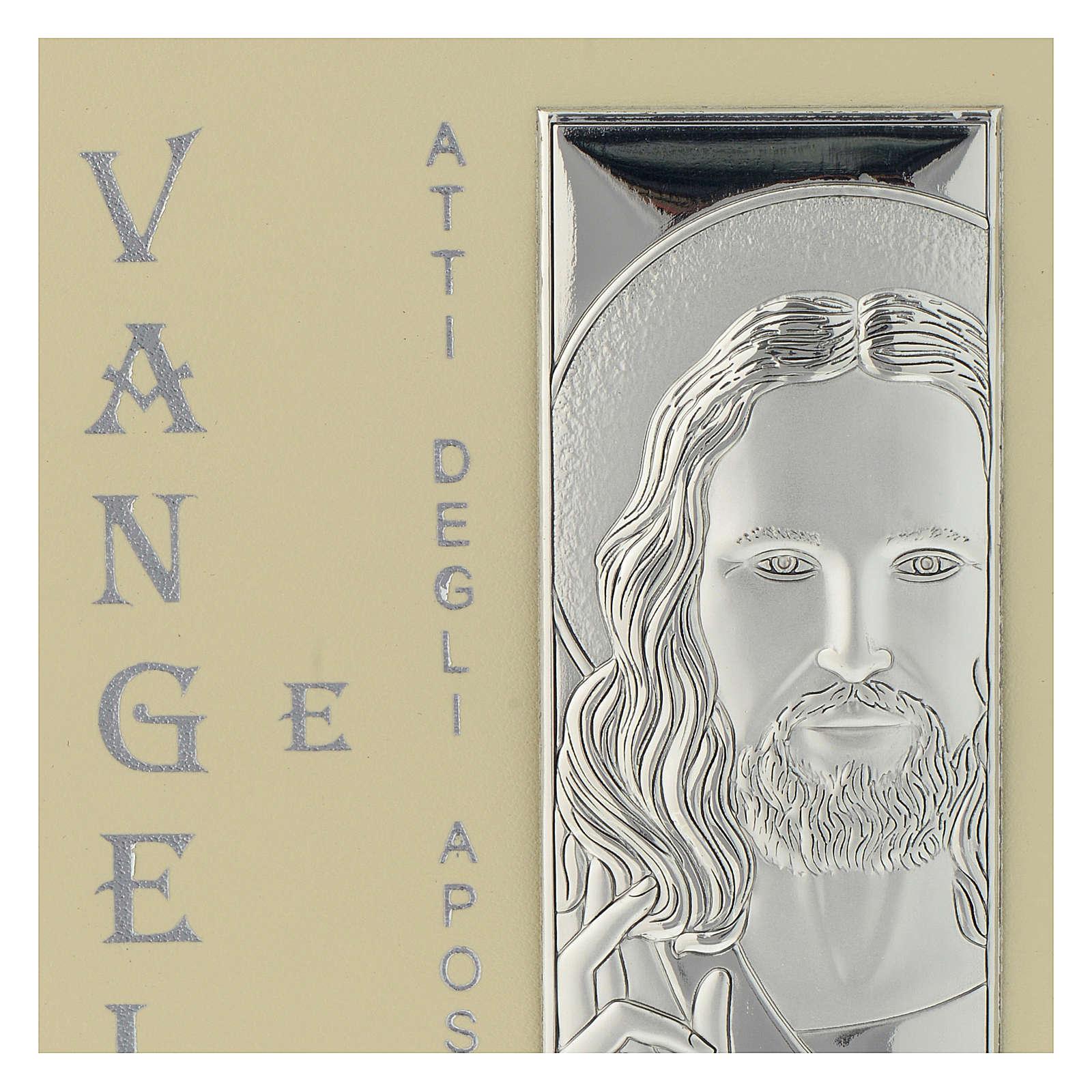 Evangelio simil cuero y placa Plata Bilaminada Rostro de Cristo 10x15 cm 3
