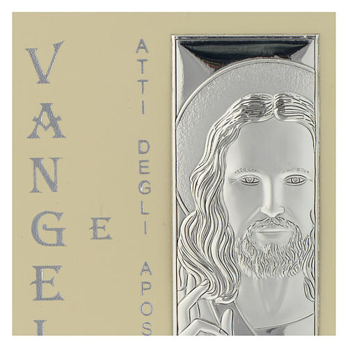 Evangelio simil cuero y placa Plata Bilaminada Rostro de Cristo 10x15 cm 2