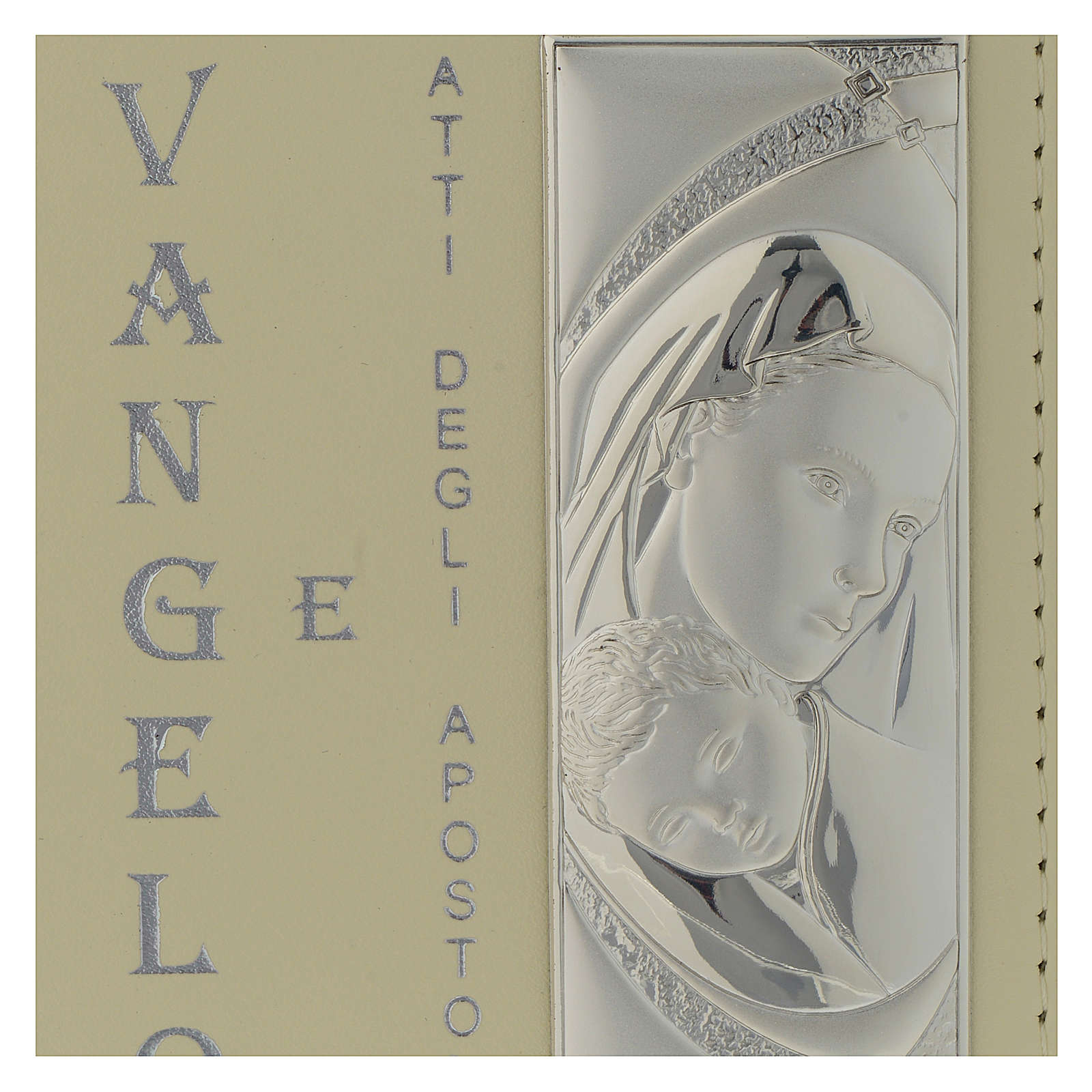 Vangelo Battesimo copertina in similpelle e placca Argento Bilaminato 10X15 cm 3