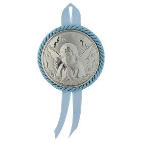 Medalhões e Medalhas para Berço: Medalhão para berço prata com caixa de música gravura Anjo