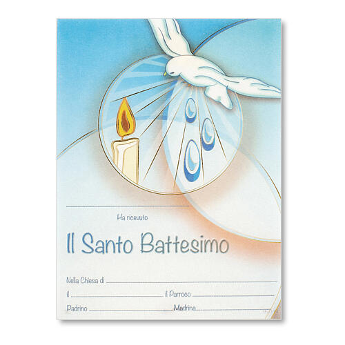Baptism parchment ITA, dove and candle on light blue background 1