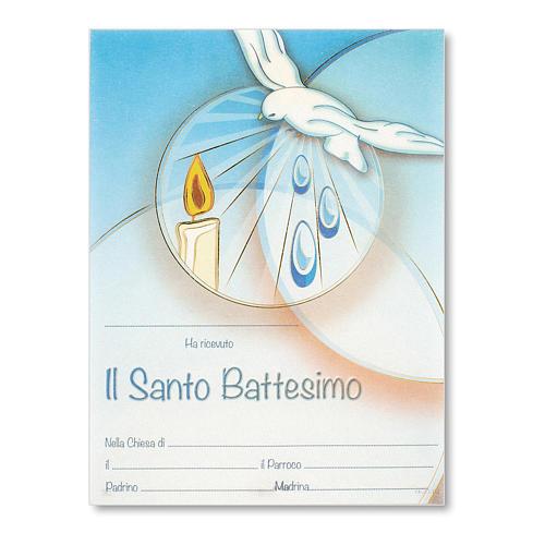 Pergamena Battesimo Colomba e candela su fondo azzurro 1