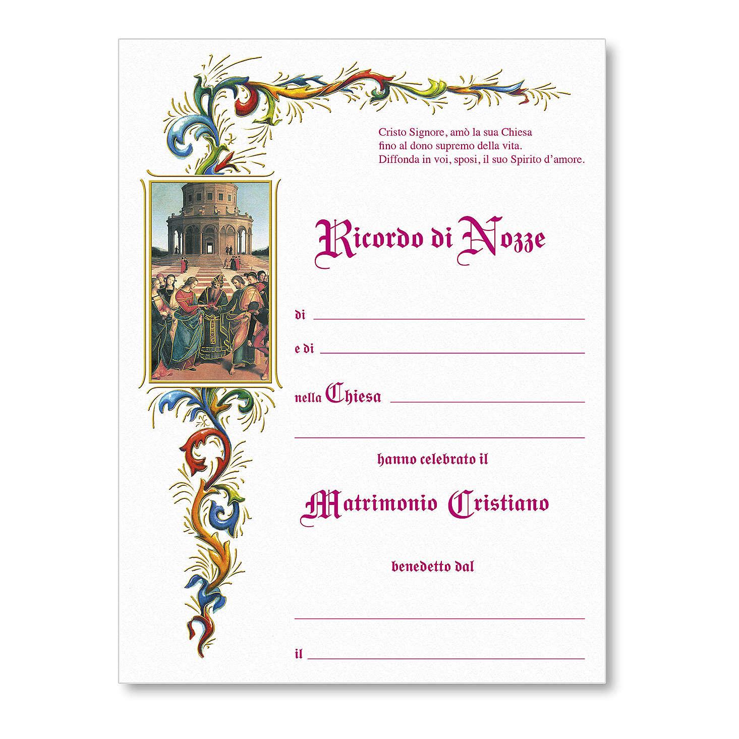 Pergamino Matrimonio Boda de la Virgen de Rafael sobre fondo blanco 3