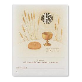 Pergamena Prima Comunione Simboli Eucaristici pane, spiga e calice s1