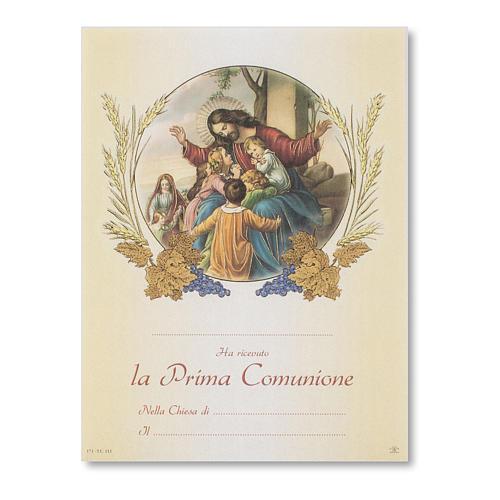 Pergamena Prima Comunione Gesù con pargoli 1