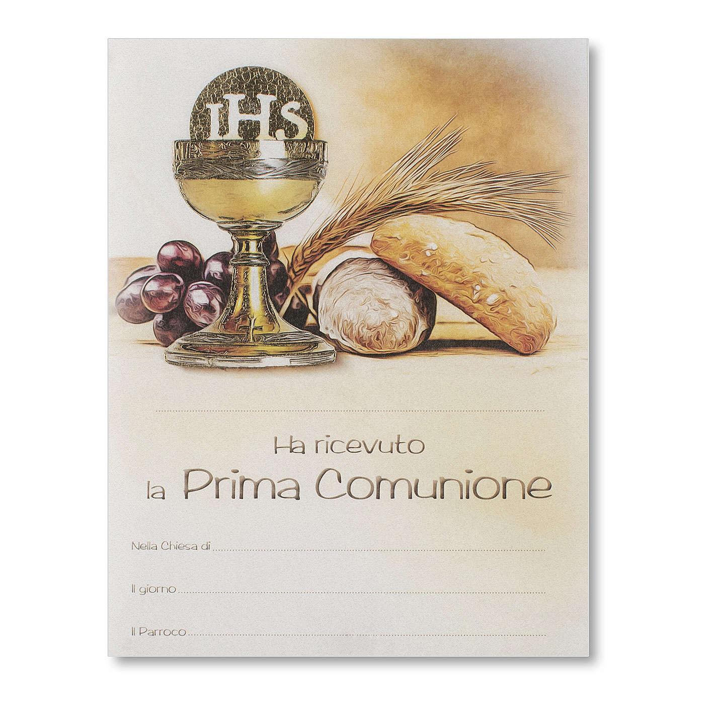 Pergamino Primera Comunión Símbolos Eucarísticos pan, espiga uva y cáliz 3