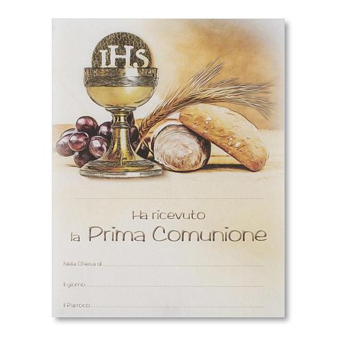 Pergamino Primera Comunión Símbolos Eucarísticos pan, espiga uva y cáliz 1