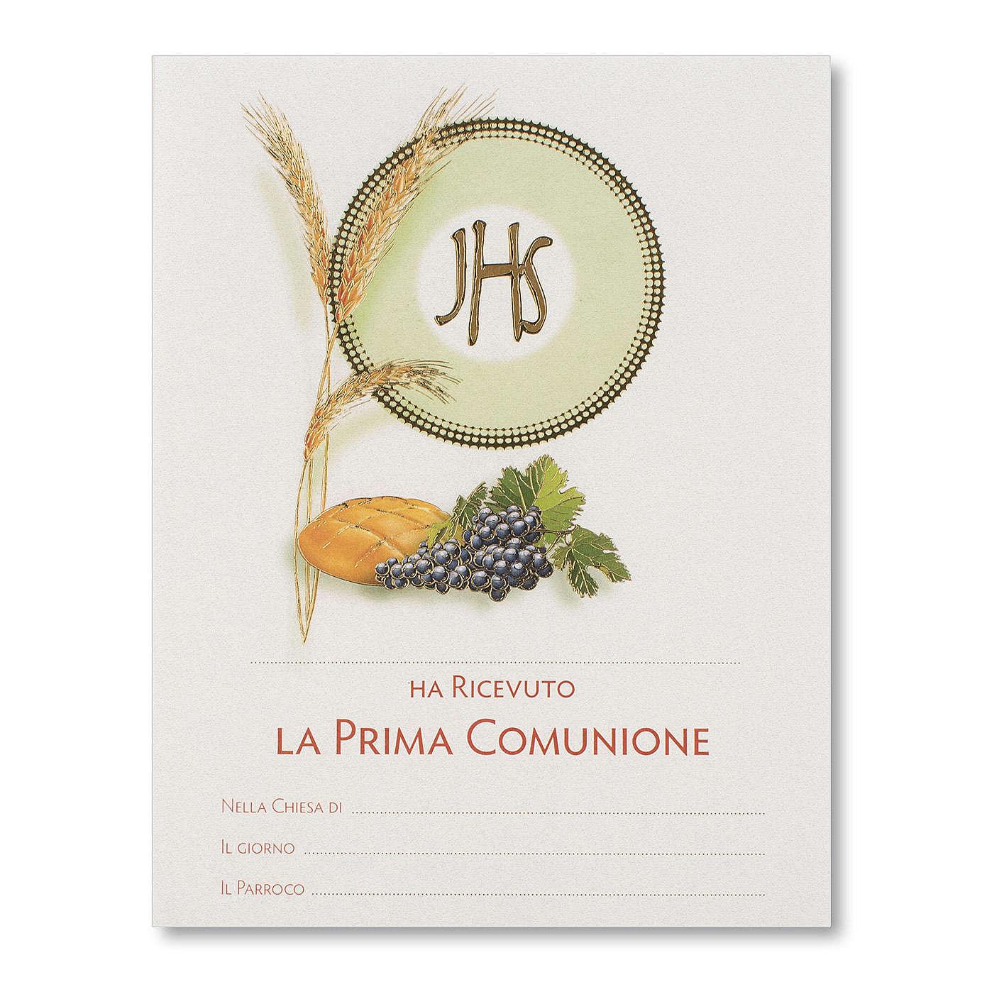 Pergamena Prima Comunione Simboli Eucaristici pane, spiga e uva 3
