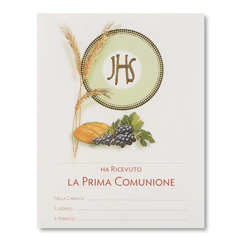 Pergamena Prima Comunione Simboli Eucaristici pane, spiga e uva 1