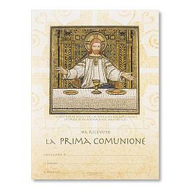 Pergamena Prima Comunione Particolare mosaico Ultima Cena s1