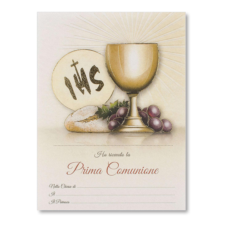 Pergamino Primera Comunión Símbolos Eucarísticos pan, espiga y uva 3