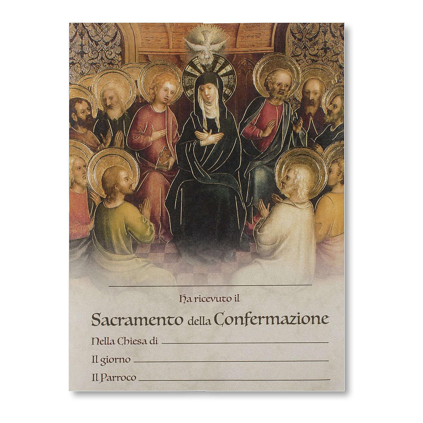 Pergamena Cresima Discesa dello Spirito Santo con Apostoli 3