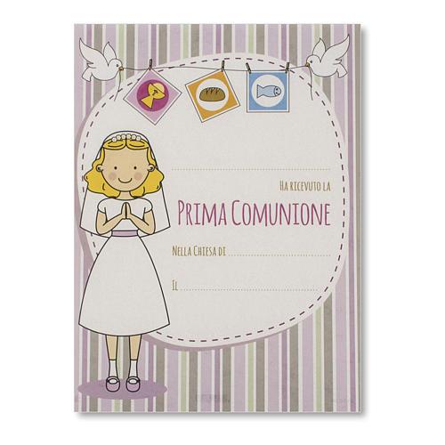 Pergamena Prima Comunione Bambina riceve la Prima Comunione 1