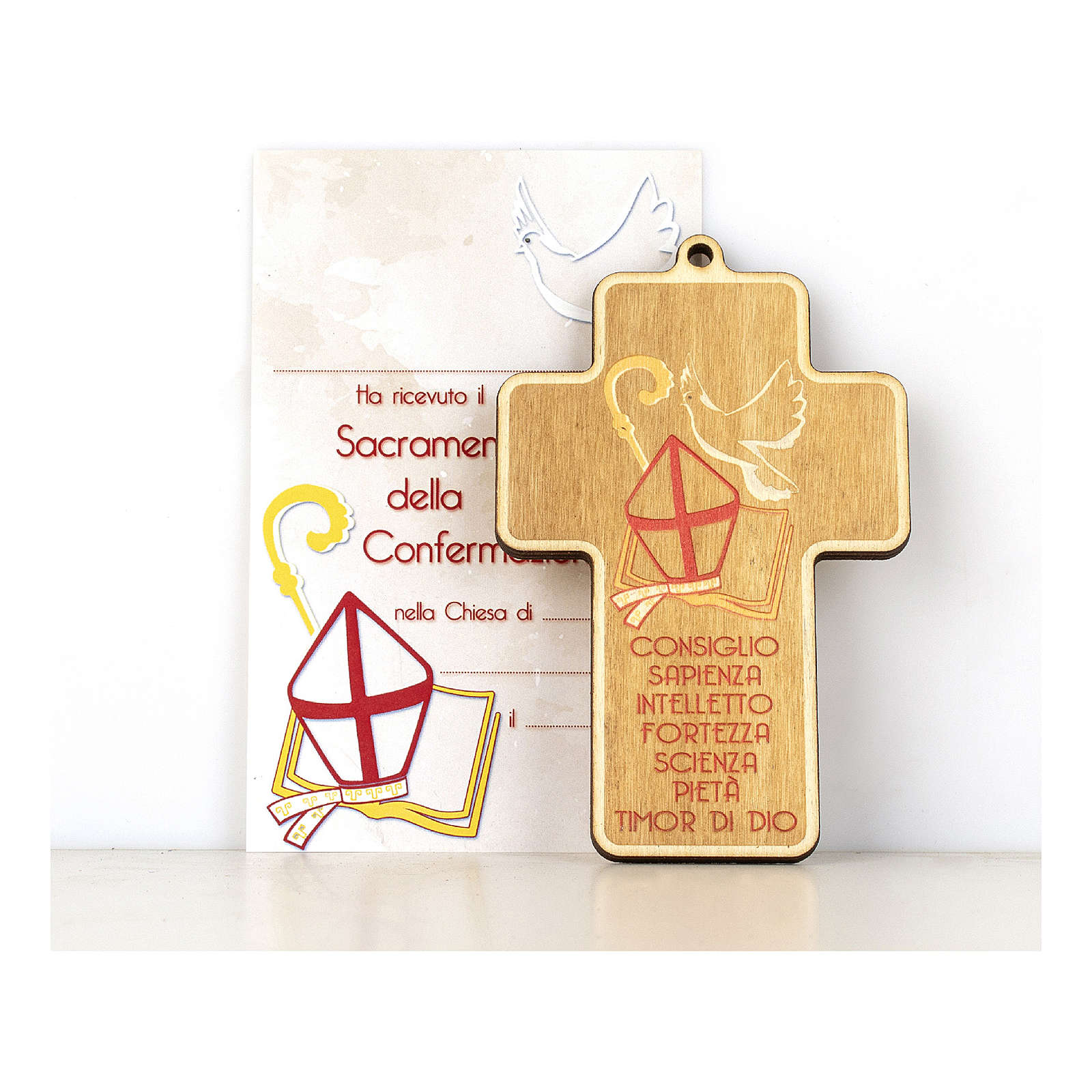 Confirmation cross in painted wood with parchment Symbols of Confirmation 3