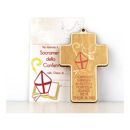 Confirmation cross in painted wood with parchment Symbols of Confirmation 1
