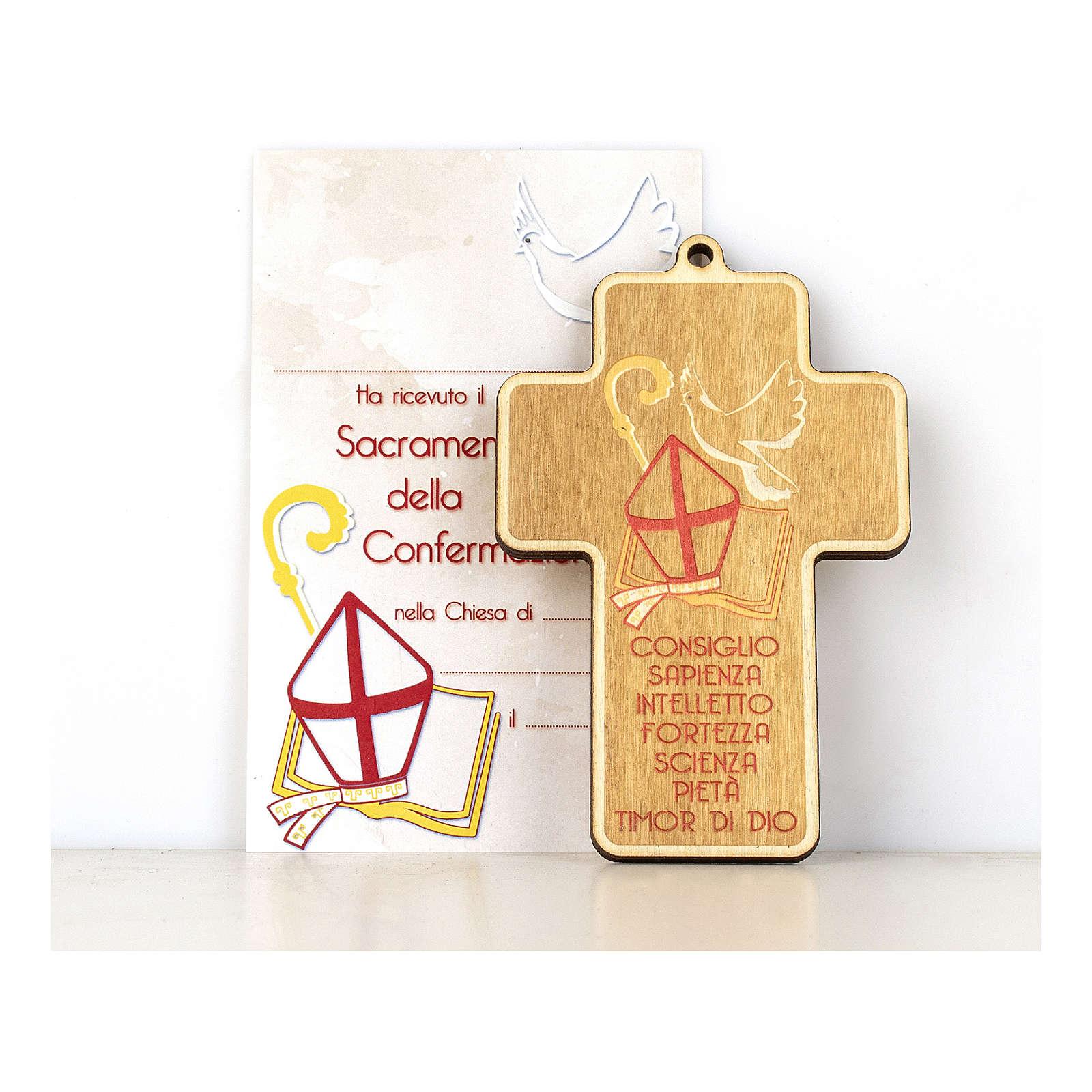 Croce Cresima in legno dipinto Simboli della Confermazione Diploma 3