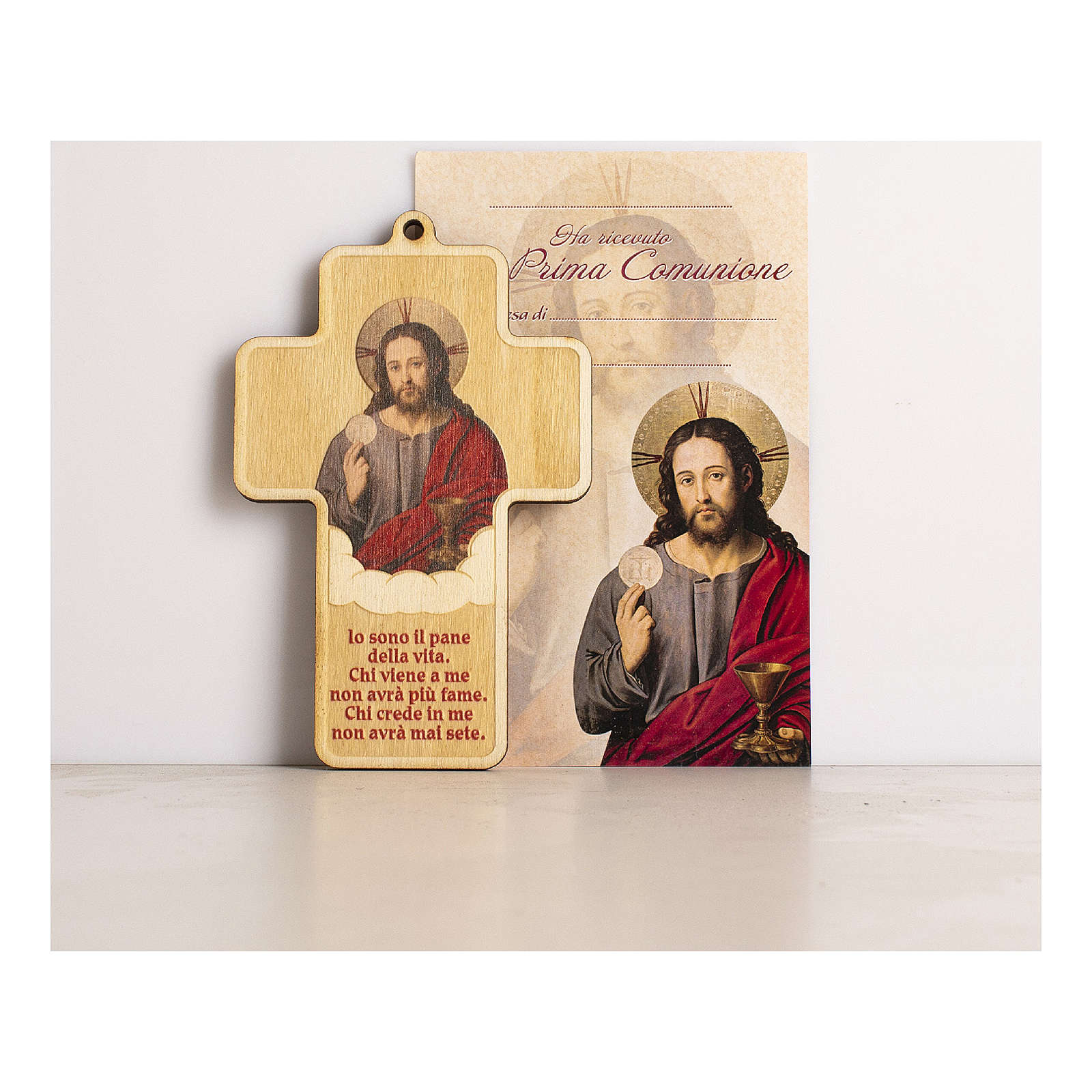 Holy Communion cross in painted wood with parchment Jesus consecrated the Bread 3