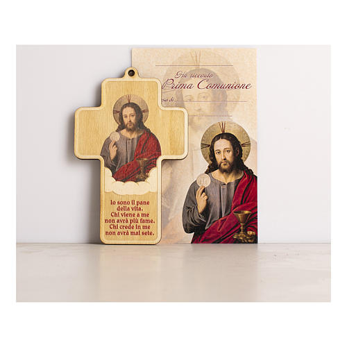 Holy Communion cross in painted wood with parchment Jesus consecrated the Bread 1
