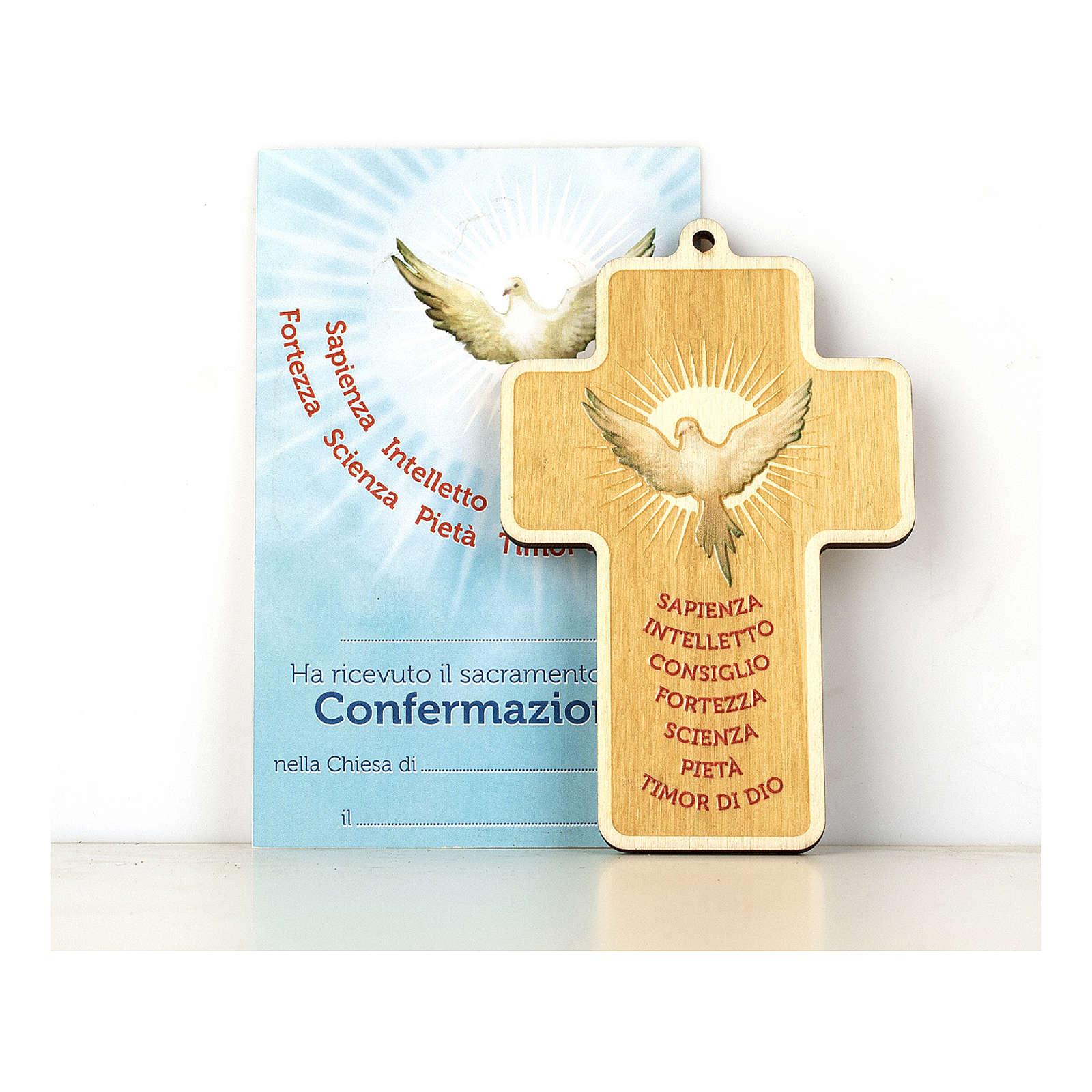 Croce Cresima in legno dipinto Spirito Santo e Doni Diploma 3