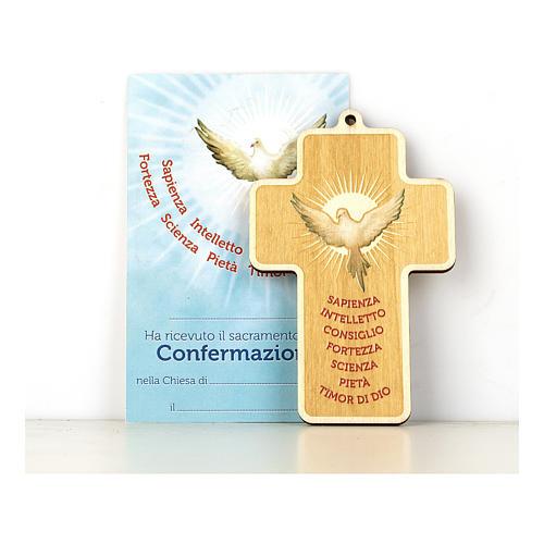 Croce Cresima in legno dipinto Spirito Santo e Doni Diploma 1