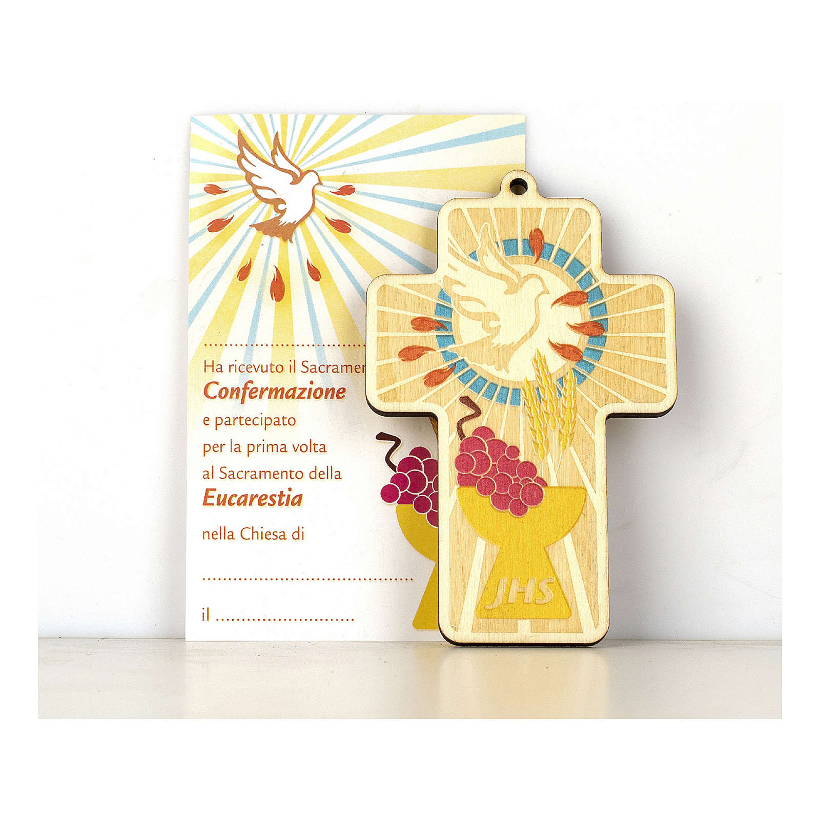 Cruz Comunión Confirmación madera pintada Combinación de Símbolos y Diploma 3