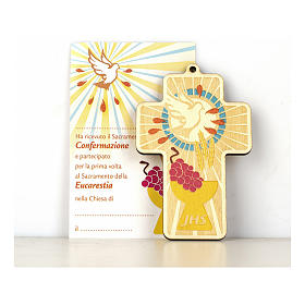 Cruz Comunión Confirmación madera pintada Combinación de Símbolos y Diploma s1