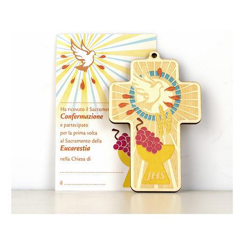 Cruz Comunión Confirmación madera pintada Combinación de Símbolos y Diploma 1