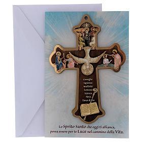 Cruz Comunión Impreso sobre madera con tarjeta Felicitaciones Espíritu Santo y Dones s4