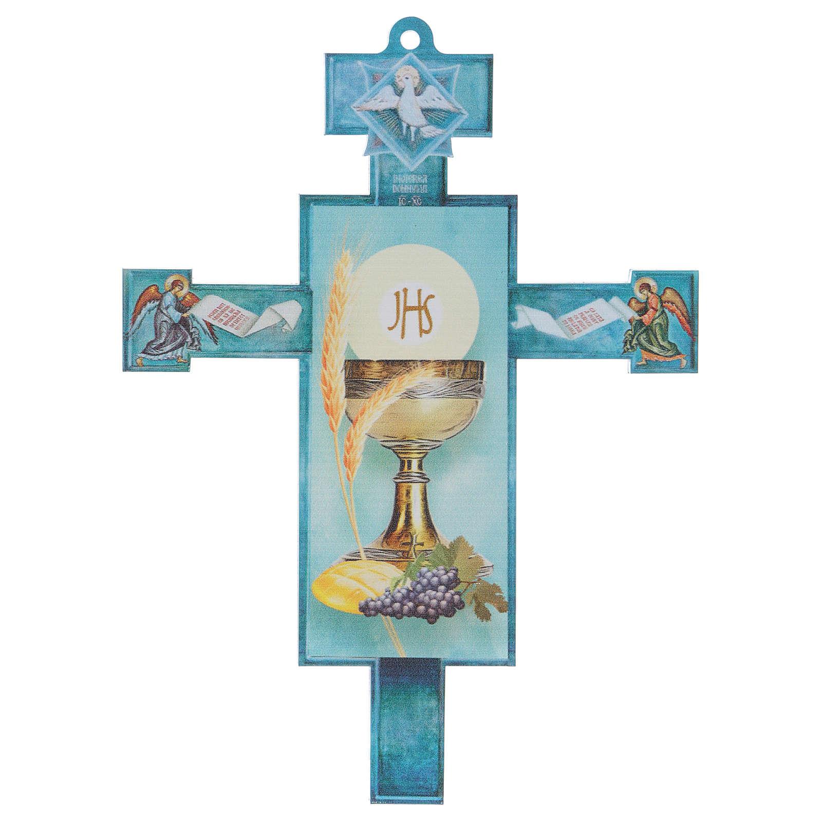 Cruz Comunión tradicional con diploma Símbolos Eucarísticos 3