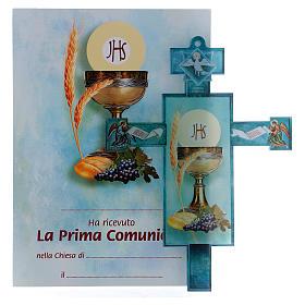 Cruz Comunión tradicional con diploma Símbolos Eucarísticos s1