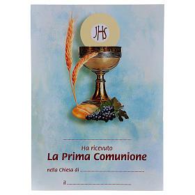 Cruz Comunión tradicional con diploma Símbolos Eucarísticos s3