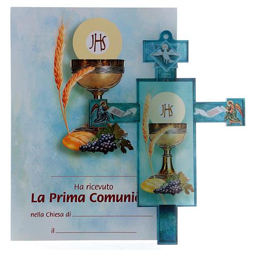 Cruz Comunión tradicional con diploma Símbolos Eucarísticos 1